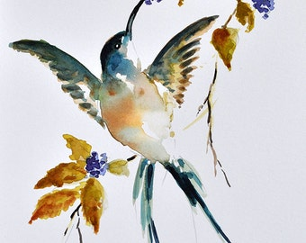ORIGINAL Watercolor Bird Painting, Flying Hummingbird With Blackberries, Wildlife Painting 6x8