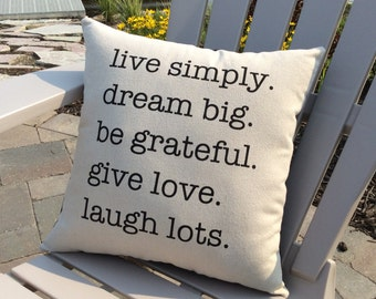 Canvas Pillow, Inspirational Word Pillow, Stenciled Pillow, Home Decor, Throw Pillow, Live Simply, Dream Big, Love, Word Pillow, Pillows
