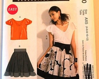 LAST CHANCE SALE - McCalls 6670 - Misses Top and Lined Skirt Pattern - Size 4, 6, 8, 10, and 12 - Easy Pattern