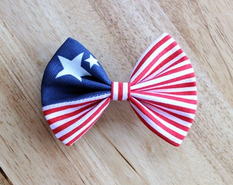 "4"" American flag hair bow, patriotic hair bow, fourth of July hair bow, red blue white, independence day, American flag bow"