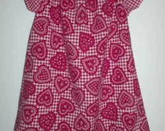 Hearts & checked peasant dress size 2T