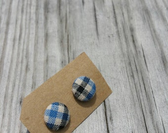 Vintage Inspired Plaid Fabric Button Earrings
