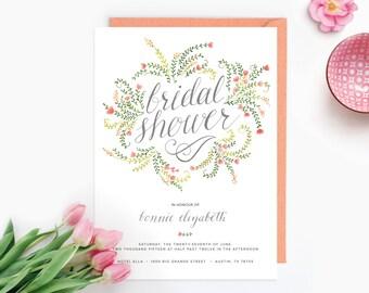 Floral Bridal Shower Invitations - Pack of Ten