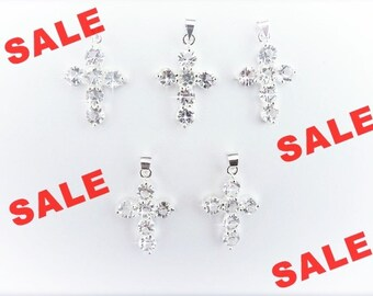 Cross Pendant, Crystal Cross charms, 5 pcs, Silver plated Cross