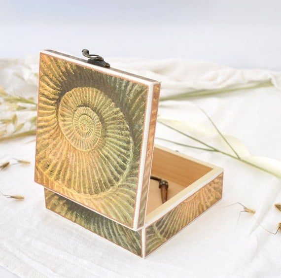 How To Make A Decorative Wooden Box: Nautical Jewelry Box Decorative Box Decoupaged Jewelry Box