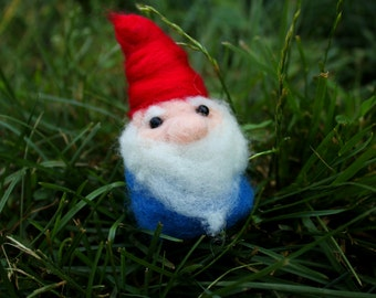 Needle-Felted Miniature Gnome Hobbit Garden Guardian Cute