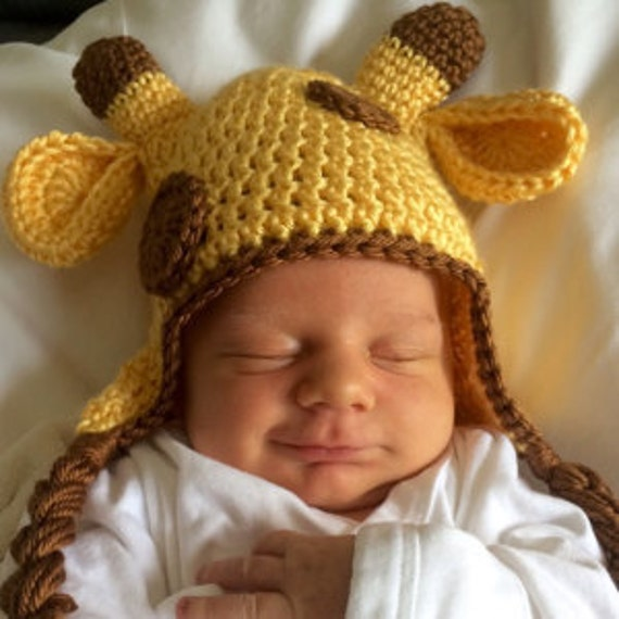 Crochet Giraffe Hat, Crochet Baby Hat, Newborn Hat, Newborn Photo Prop, Giraffe Baby Hat, Baby Girl Hats, Baby Boys Hats, Baby Animal Hats