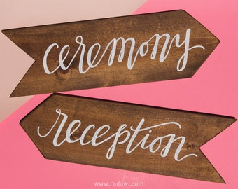 Calligraphy hand lettered wooden wedding ceremony and reception handmade direction signs (double sided pair)