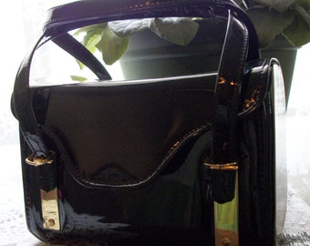 Purse SALE 15% Off Was *20.00 Garay 1950's Shiny Faux Black Patent Leather Box Purse w/ Double Handles Just Adorable!