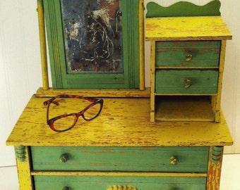 Vintage Folk Art Cottage Chic Miniature Dresser With Mirror