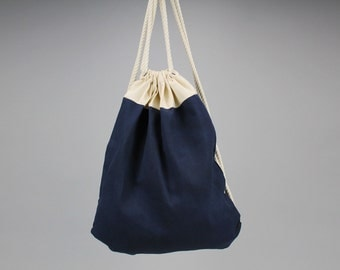 The Daniel Drawstring Backpack // Navy and Natural Waxed Canvas Two-Tone Backpack/Tote with Rope Drawstring