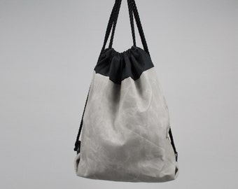 The Daniel Drawstring Backpack // Grey and Black Waxed Canvas Two-Tone Backpack/Tote with Rope Drawstring
