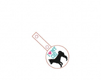 I Love My CHI - Chihuahua - In The Hoop - Snap/Rivet Key Fob - DIGITAL Embroidery Design