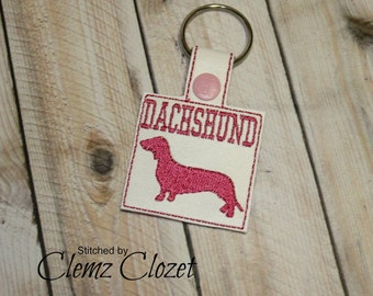 Doxie - Dachshund - Weenie Dog In The Hoop - Snap/Rivet Key Fob - DIGITAL Embroidery Design