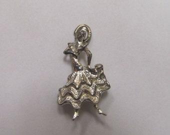 Vintage 925 Silver 3D Dancing Señorita Charm Item W-#197