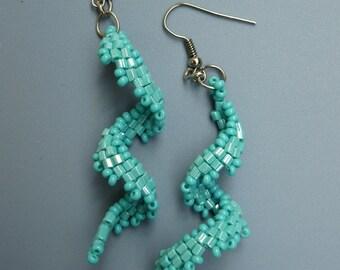 Curly earrings, turquoise earrings, beaded earrings, beadwoven exclusive handmade earrings, summer jewelry, boho earrings, dangle earrings