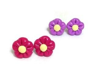 Hot Pink Stud Earrings, Lavender Stud Earrings, Young Adult Jewelry, Kids First Jewelry, Little Girl Earrings, For Sensitive Ears