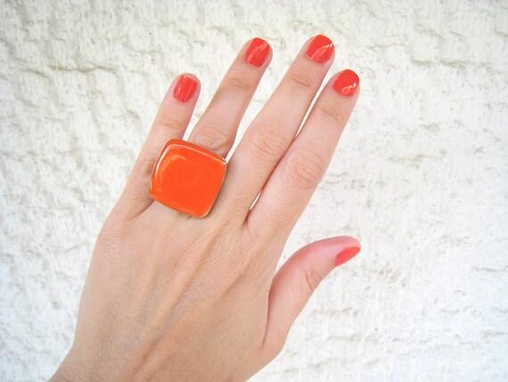 Orange ring, orange resin ring, tangerine orange glass ring, big chunky square ring, modern pop fashion ring, color block jewelry