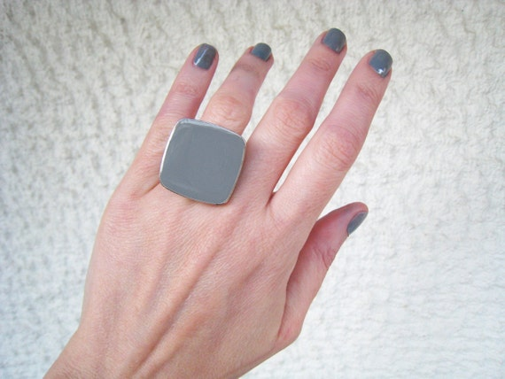 Grey ring, granite grey resin ring, ash grey glass ring, contemporary big chunky square ring, modern minimalist stainless steel ring