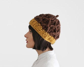 Acorn Hat - Knit & Crochet Chunky Hat - Fall Thick Beanie - Winter Accessory - Novelty Hat in Chocolate and Gold | The Castor Hat |