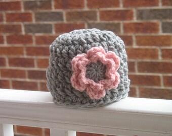 Baby Girl Hat, Newborn Girl Hat, Newborn Girl Beanie, Infant Hat, Newborn Photo Prop, Girl Photo Prop, Grey, Pink, Chunky, Flower, Crochet