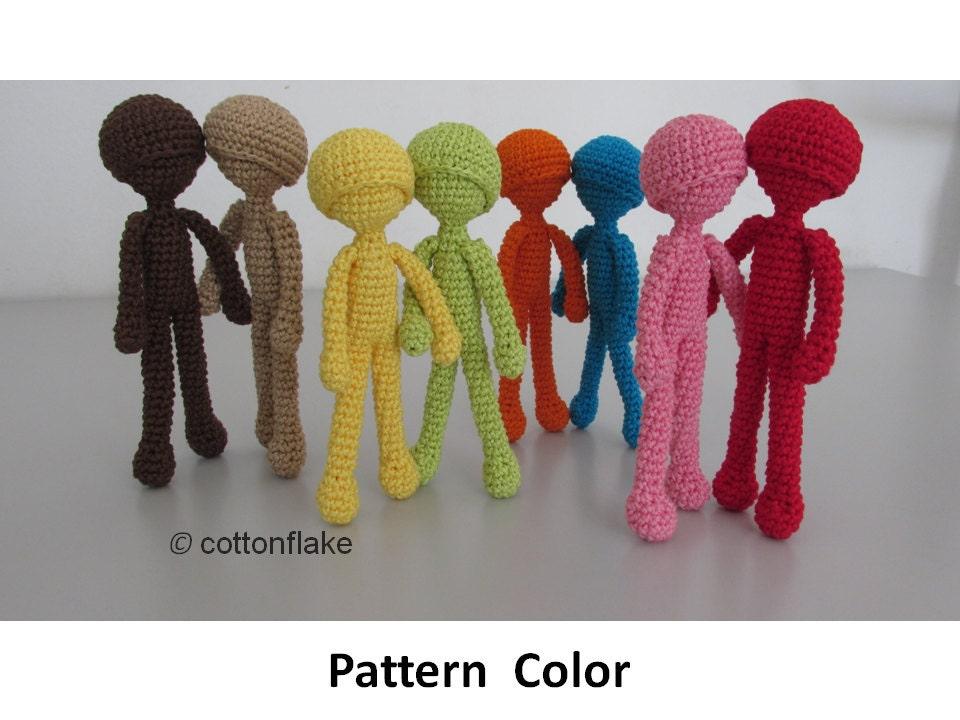Pattern Color doll amigurumi crochet human body amigurumi