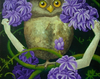 Brown Owl with Lavender Hyacinth Flowers and Green Vines Original Acrylic Painting on Canvas