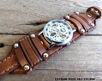 Brown leather watch, Steampunk watch, Leather cuff watch, Skeleton watch, Bracelet watch, Men's watch, Dad's gift, Anniversary gift,
