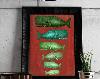 Whale print - Whale Family Green on Red : whale poster nautical print coastal Wall Art Beach art Coastal living nautical decor Coastal Décor