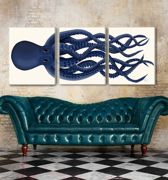Giant octopus triptych set 3 octopus print octopus canvas for Posters art contemporain