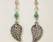 Green Leaf Earrings Forest Inspired Earrings Woodland Princess Fantasy Nature