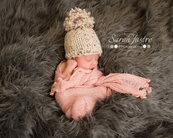Knit Newborn Hat - Knit Baby Cap - Baby Hat - Gender Neutral Cap - Pom Pom Baby Cap - Oatmeal