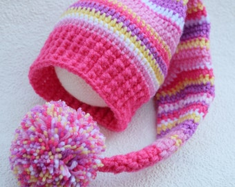 Crochet Elf hat, Elfin Photo Prop, Elfin Newborn Baby Hat, Gnome hat, a striped Elf hat, newborn photo prop