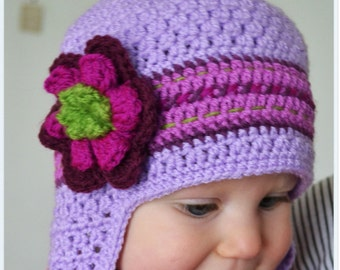20 % OFF ! SALE! CLEARANCE ! Handmade Crochet hat for girls, Girls hat, Toddler hat, Flower hat, Purple hat