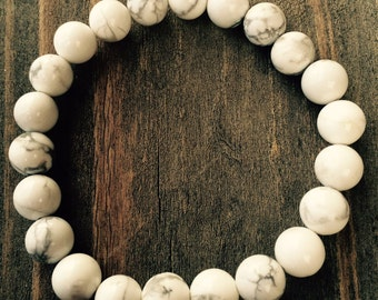 FREE SHIPPING in USA!! 8mm Natural White Howlite Spiritual Bead Bracelet on Stretch Cord Custom Sizes Available