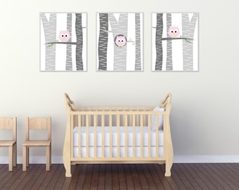Baby Girl Nursery Wall Art, Owl Nursery Wall Art Prints, Suits Pink and Grey Nursery Decor and Bedroom Decor - H228