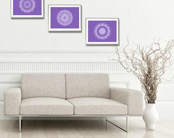 Indie posters room decor set of 3 prints wall decor gift for her purple matching wall art bedroom nursery white art boho mandala prints 8x10