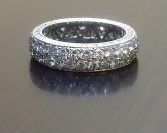 Art Deco Platinum Eternity Diamond Engagement Band - Engraved Platinum Art Deco Diamond Wedding Band - Pave Diamond Platinum Eternity Band