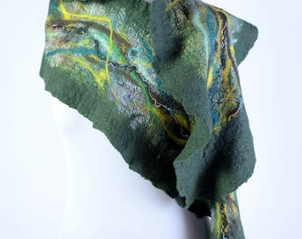Fabulous nuno felt scarf in meadow green - elegant women shawl made of felted wool and silk - exclusive accessory for lady [S182]