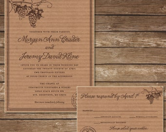 Printable Rustic Winery Wedding Invitation with RSVP Card - Digital File