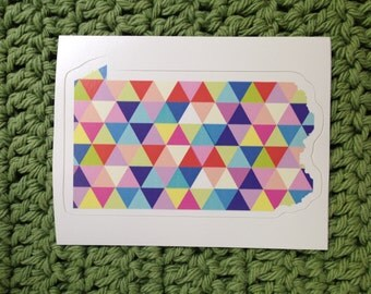 Vinyl Sticker - Pennsylvania - Colorful Hipster Geometric Triangles  - Laptop Sticker - Bumper sticker - Philadelphia stocking stuffer