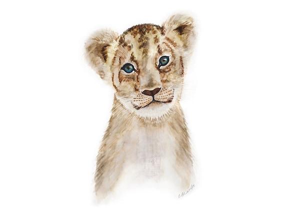 Baby Animal Portrait Lion Cub Art Lion Painting By