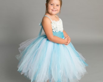 Flower girl dress - tutu dress - tulle dress - Light Blue Turquoise Tutu Dress - Girls/Youth/Toddler Dress - Pageant dress - Princess dress