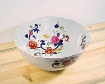Large Vintage Porcelain Floral Polychrome Transferware Bowl