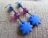 blue earrings, blue and fuchsia earrings, blue and pink earrings, star earrings, blue star earrings, long blue earrings, royal blue earrings