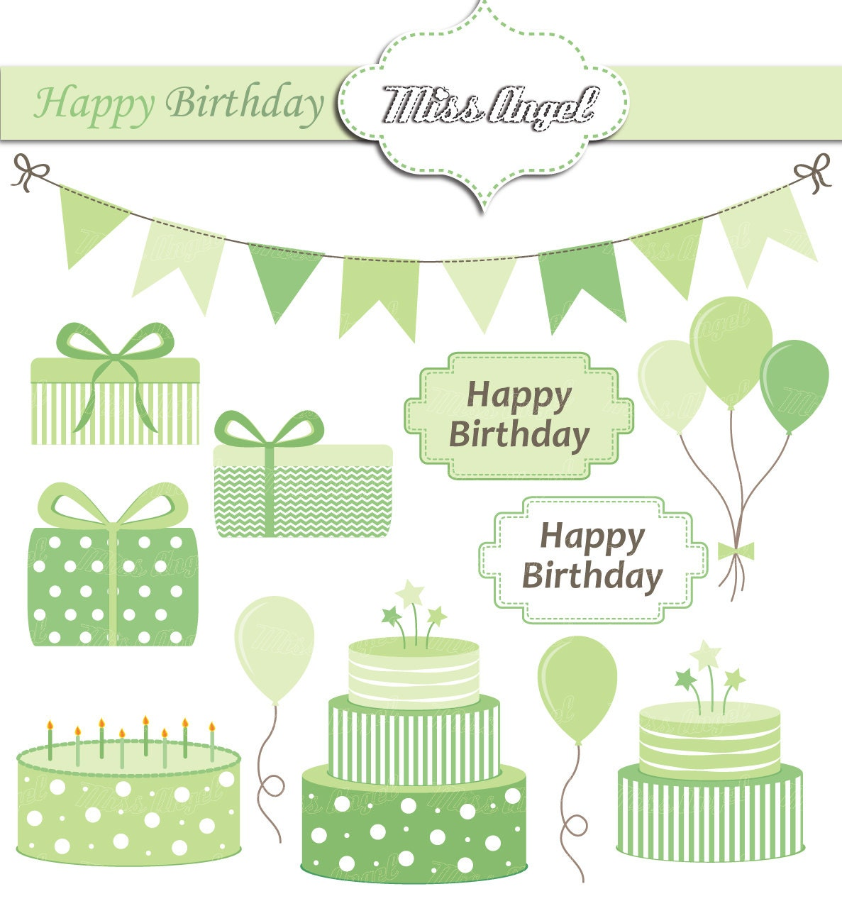 happy birthday clipart green  digital party  bunting banner