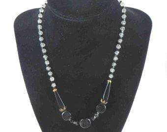 Jet Black & Crystal Bead Necklace