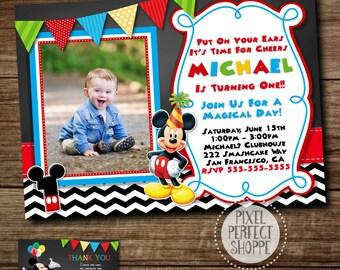 Mickey Mouse Invitation, Birthday Invitation, Mickey Mouse Clubhouse, Photo Invitation, Chalkboard Invitation, FREE Thank You Card, Mickey