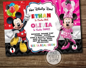 TWIN INVITE, Mickey Minnie Twins Birthday Invitation, Twins Siblings Clubhouse Mickey Minnie Invitations, Invitations For Twins or Siblings