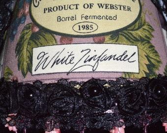 SHABBY CHIC White Wine Night Light Zinfandel Wine  Print Fabric  Shade With Bead Trim